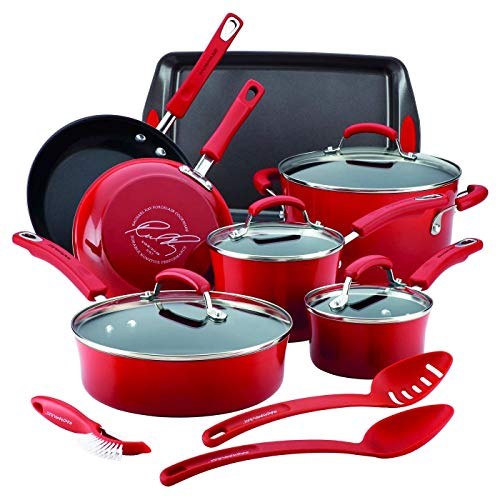 Rachael Ray Porcelain Enamel Aluminum Nonstick 14 piece Cookware Set - Red