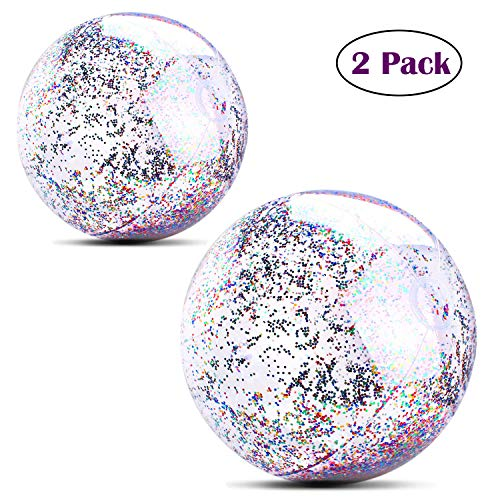 MODOLO 2 Pack Inflatable Glitter Beach Ball 14 Inch 20 Inch Confetti Beach Balls Transparent Swimming Pool Party Ball for Summer Holiday Water Play Toy Pary Favors Sliver