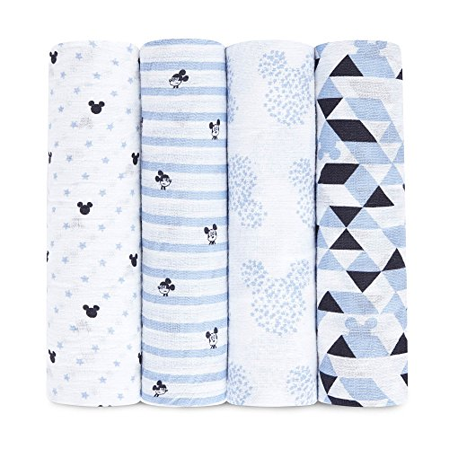 aden by aden + anais Disney Swaddle Baby Blanket, 100% Cotton Muslin, 44 X 44 inch, 4 Pack, Mickey Mouse