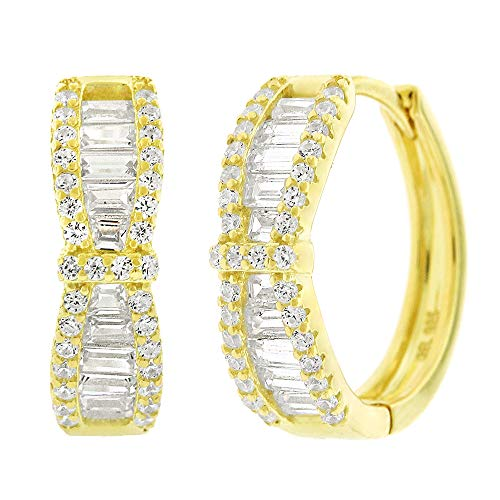 .925 Sterling Silver Womens Cubic Zirconia CZ Round Bow-Tie Baguette Clear Micro Pave Small Round Huggie Hoop Earrings (Yellow)