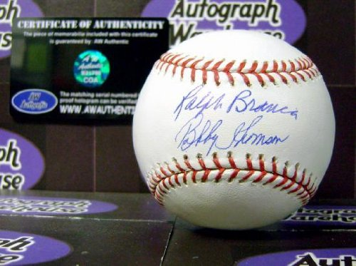 Ralph Branca and Bobby Thomson autographed baseball - Autographed Baseballs Autograph Warehouse