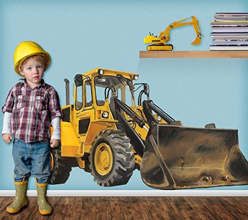 Oopsy Daisy Classic Yellow Bulldozer Peel and Place, Yellow, 54