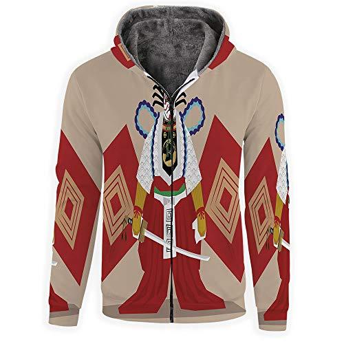 Men's Hoodies Full Zipper Hooded Sweatshirt -Kabuki Mask Decoration