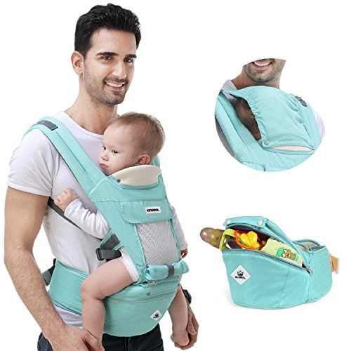 360 Ergonomic Baby Carrier Adjustable Backpack with Hip Seat,12 Positions All Seasons Summer,Baby Diaper Bag with Large Capacity,Breathable Mesh Safe Comfortable,for Infant Toddler Newborn,Light Green