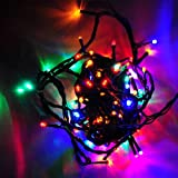 LEDwolesalers 33-ft 100-LED Christmas Holiday Light String with Green Wire, Multi-Color, 2021RGB