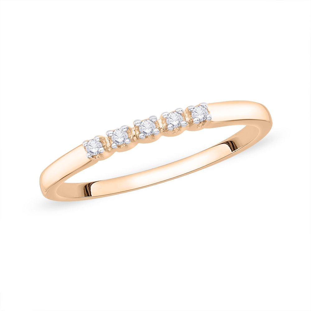 1//20 cttw, Diamond Wedding Band in 10K Pink Gold G-H,I2-I3 Size-4.25