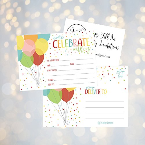 25 Rainbow Balloon Party Invitations For Kids Teens Adults