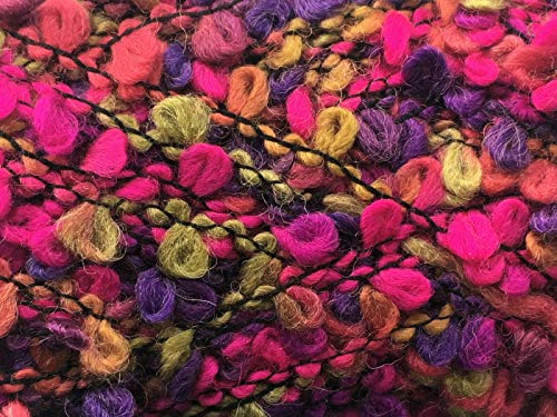Polyester Yarn Boucle (Dark Horse Yarns Boucle #10 Summer of Love - Fuchsia Purple Olive Red Wool Blend 100 Gram 87 Yards)