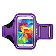 Galaxy S5 Armband, J&D Sports Armband for Samsung Galaxy S5, Key holder Slot, Perfect Earphone Connection while Workout Running (Samsung Galaxy S5, Purple)