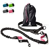 SparklyPets Hands-Free Dog Leash for Medium and Large Dogs – Professional Harness with Reflective Stitches for Training, Walking, Jogging and Running Your Pet (Pink)