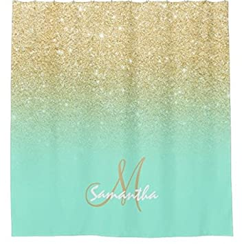 Modern Gold Ombre Mint Green Block Personalized Shower Curtain 48 X 72 Inch
