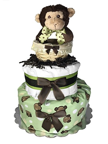 Baby Shower Gift - Diaper Cake for a Boy or Girl - Monkey in a Basket Centerpiece