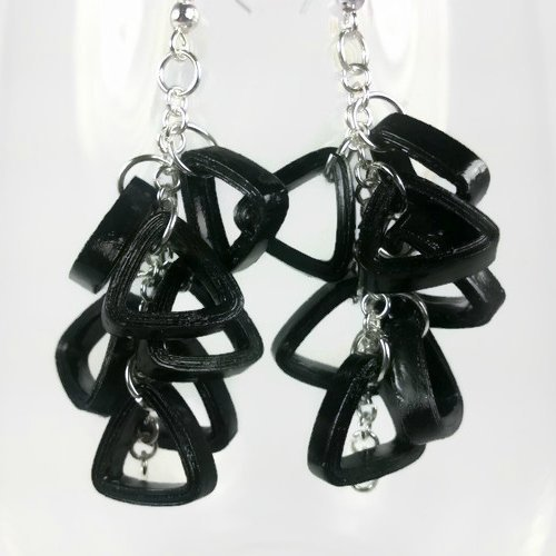 Anniversary Cluster (Quilled Black Cluster Earrings Handmade Paper Anniversary Gift)