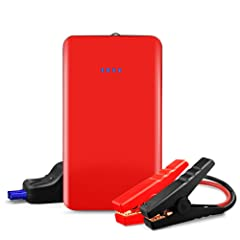 Car Jump Starter HENZIN 400A Peak 7500mAh (Up to 2.5L Gas) 12V Portable Ultra-thin Auto Battery Booster Phone Charger Power Bank with Smart Jumper Cable Built-in LED Emergency Flashlight