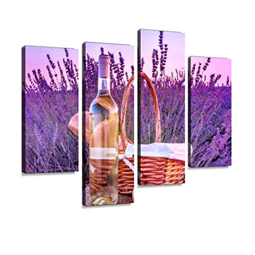Bottle of White Wine and Picnic Basket in Lavender Field Canvas Wall Art Hanging Paintings Modern Artwork Abstract Picture Prints Home Decoration Gift Unique Designed Framed 4 Panel ()