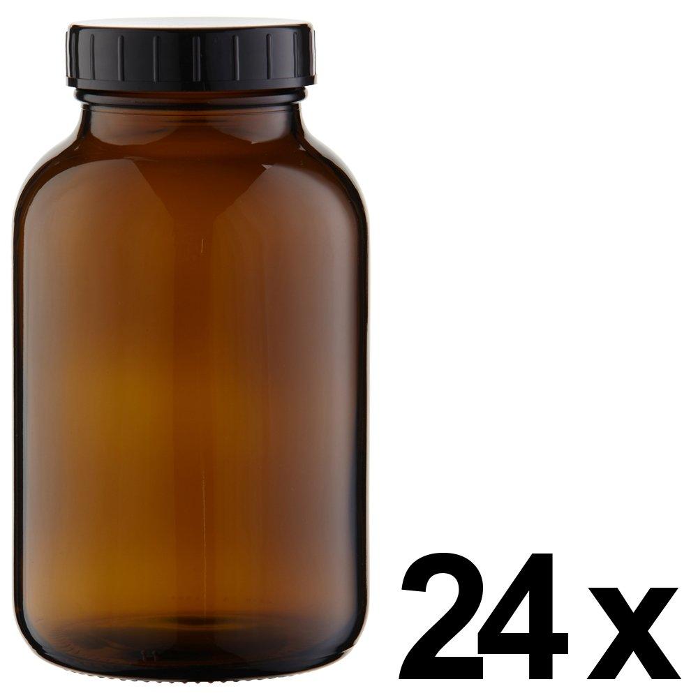 24 x Weithalsflasche 1000ml Braunglas inkl. Schraubverschluss mit Dichtungsscheibe *** Weithalsflaschen, Schraubgläser, Weithalsgläser, Braunglasflaschen, Glasdosen, Allzweckgläser, Haushaltsgläser, Weithalsglas, Schraubglas, Allzweckglas, Haushaltsglas, 1 Liter, 1l, 1000 ml, 1Liter ***