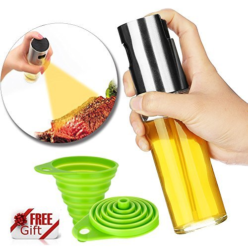 r Cooking, STRONGEST & PORTABLE - Best Oil Spray Bottle for BBQ\Making Salad, [BONUS - Collapsible Silicone Funnel] ()