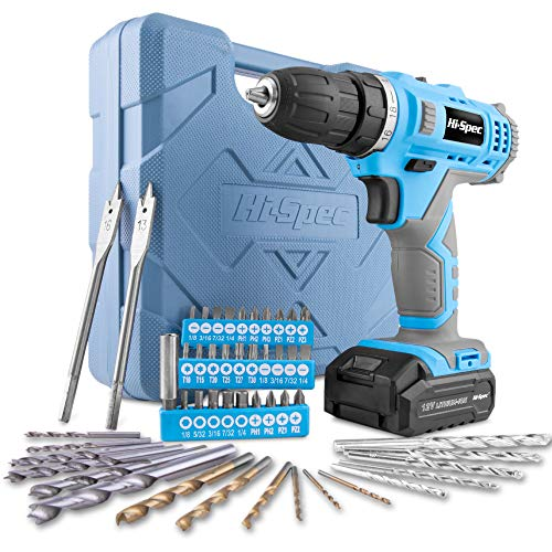 Hi-Spec 12V 1300mAh Li-ion Cordless Drill Driver, Twin Gear Speed with 20Nm Torque. Variable Speed Switch & LED Light…