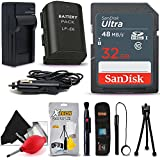 SanDisk 32GB Ultra SD Memory Card + LP-E6/LP-E6 Battery/Charger + Xtech Starter Kit for Canon EOS 80D 70D 60D 60Da 5D Mark II III IV, 6D 7D Mark II 5DS 5DSR DSLR Cameras