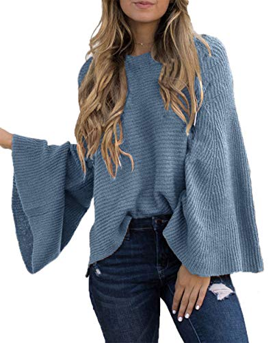 HZSONNE Women's Casual Kimono Bell Sleeve Patchwork Stripe Loose Fit V Neck Pullover Sweater Knitted Tops Blouse Cardigan (Greyblue, Small)