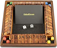 GlobalDream Shut The Box Family Game - 4 Players Wooden Dice Game for Kids and Adults - Stained Wood and Black