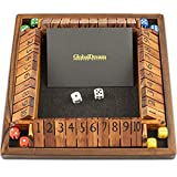 GlobalDream Shut The Box Family Game - 4 Players Wooden Dice Game for Kids and Adults - Stained Wood and Black Felt for Soft Dice Rolls - 10 Numbers Game Box