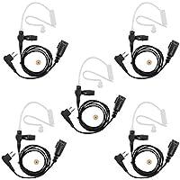 abcGoodefg® Advanced Nipple Covert Acoustic Tube Bodyguard FBI Earpiece Headset Mic PTT for Motorola Two Way Radio Walkie Talkie (5 Pack)