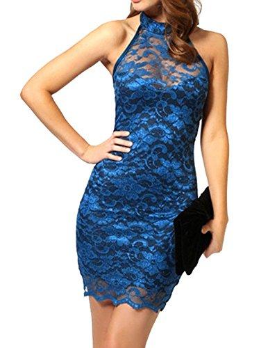 SaiDeng Vestido Corto Casual Verano Vestido Corto De Encaje Clubwear Caliente Para Fiestas Club Para Mujeres Azul