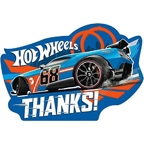 Amscan Fast Riding Hot Wheels Wild Racer Birthday Party Postcard Thank You Cards, Multicolor, 4 1/4