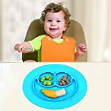 URSMART Mini Size Smile Baby Rice Plate Food Placemats Kids Suction to Dining Table Kitchen Dinnerware (blue)