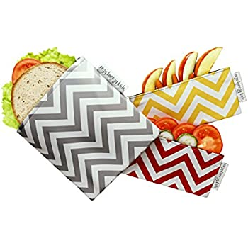 The Original FOOD SAFE Snack & Sandwich Bags. Reusable and Multipurpose Cloth Bags. Washable, Food Safe, Environmentally Friendly (Red & Yellow)