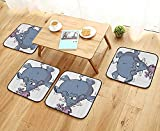 Printsonne Modern Chair Cushions Rabbit BalancingElephant Funny Mascot Animals Carto Creatures Circus Convenient Safety and Hygiene W23.5 x L23.5/4PCS Set