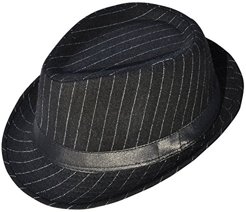 Cuban Style Men's Gangster Structured Pinstripe Short Brim Fedora Hat, Black - Pinstripe Wool Hat