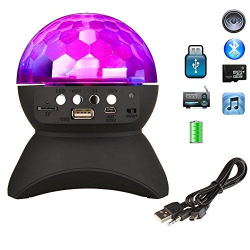 AOKARLIA Portable Party Speaker Lights,LED Crystal Ball Disco Bluetooth/LED Stage Lights Support FM TF Card AUX,Black -