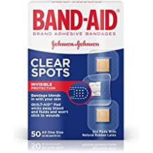 Band-Aid Brand Clear Spots Bandages for Discreet First Aid, All One Size, 50 count ( Pack of 6)