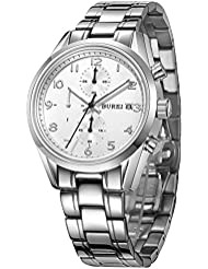 BUREI Luxury Classic Elegant Mens Chronograph Watch Stainless Steel Bracelet 50M Water-resistant (White dial &...