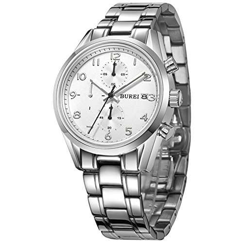 BUREI Luxury Classic Elegant Mens Chronograph Watch Stainless Steel Bracelet 50M Water-Resistant (White dial & Silver Hand) -