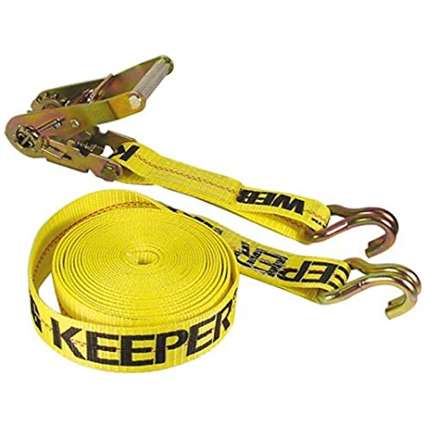 Keeper 04622 Heavy Duty 27 x 2 Ratcheting Tie Down 10,000 lbs Rated Capacity with Double J-Hooks