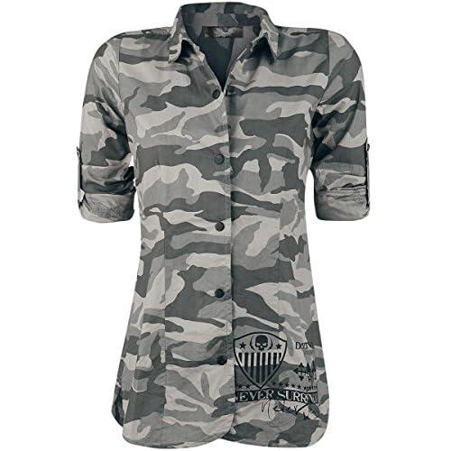 70ec4fd47 high-quality Rock Rebel by EMP Boundaries Shattered Camisa Mujer camuflaje