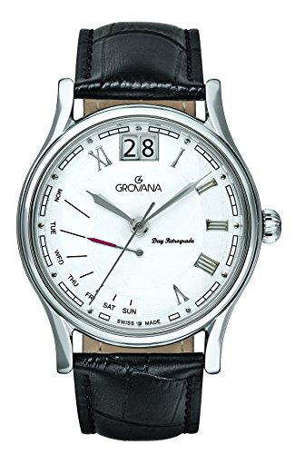 Grovana Men's 1729-1532 Retrograde Analog Display Swiss Quartz Black Watch