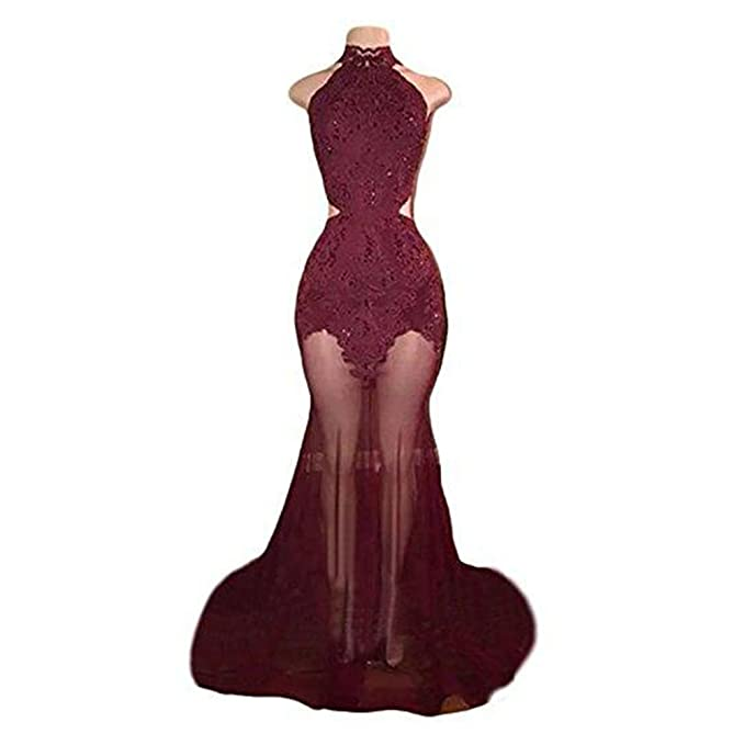 GoDressy Burgundy Halter Mermaid See Through Long Prom Dresses 2018 at Amazon Womens Clothing store: