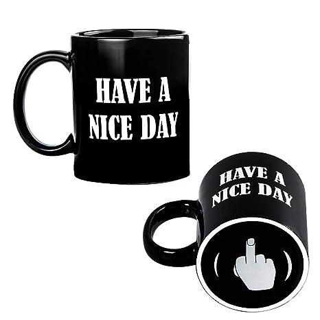 Amazon.com: Have A Nice Day dedo medio taza de café – Idea ...