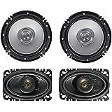 (2) Kenwood KFC-C1656S 6.5 600 Watt Car Audio Speakers+(2) 4x6 Speakers
