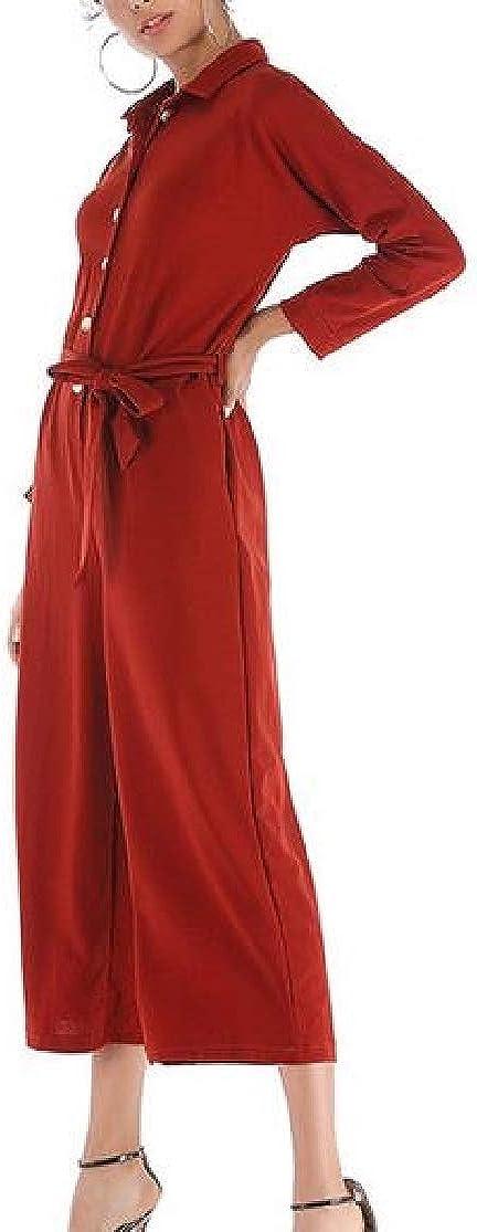 Cromoncent Womens Wide Leg Button-Down Long Sleeve Casual Lapel Belt Jumpsuits
