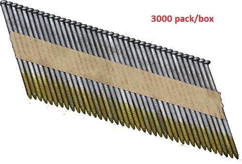 Ring Shank Flooring Nails - OrionPower OPN-3 Clipped Head 2-3/8 Inch X .113 Inch X 34 Degree Hot Dipped Galvanized Ring Shank Paper Strip Collated Framing Nails (3000-Pack)
