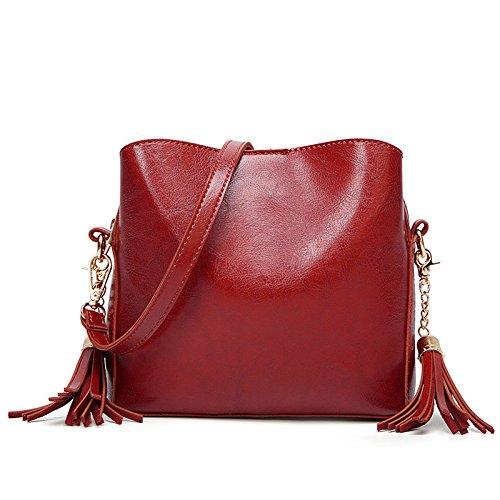 Women's Red Bag De Mode Huile Diagonale Zll Cuir Franges Sac Femmes En À Main Pour Bandoulière Zdvqw5TA