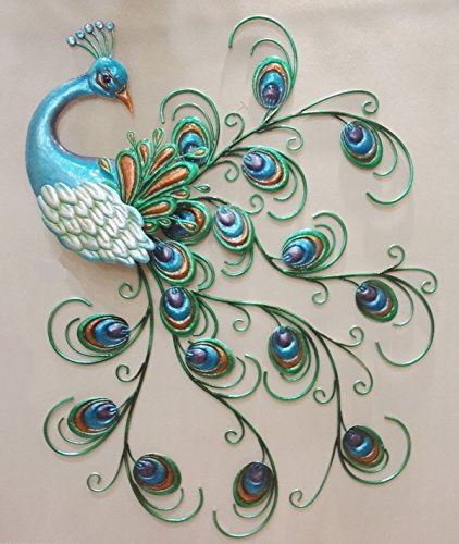 CHSGJY Pretty Peacock Wall Art Decor Hanging Metal Sculpture Large Colorful Bird 30inches