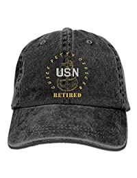 rouqianshangmao US Navy - CPO Chief Petty Officer Retired Jeans Caps Retro Jeans Cap for Adults
