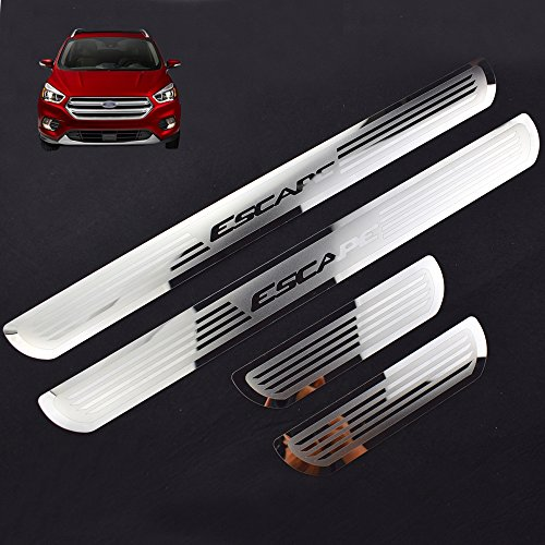Weigesi Car Stainless Steel Door Sill Scuff Plate for Ford Escape 2014-2019