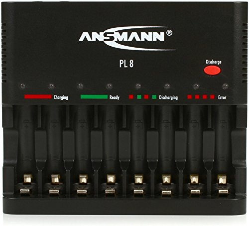 (ANSMANN Individual Cell Battery Charger Powerline 8 for NiMH Rechargeable Batteries AAA & AA with USB Port for Smartphone - 8 Bay Universal recharger for Double A, Triple A)